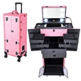 Byootique Pink Rolling Makeup Case Trolley Lockable with Mirror Light Pro Large Cosmetic for Artists Hair Stylist Barber Organized