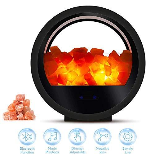 ALGG Himalaya-Salz-Lampe Bluetooth Lautsprecher, Himalaya-Salz-Lampe Bluetooth Lautsprecher Home Office Dekoration Relaxing Negativ-Ionen-Nachtlicht mit Dimmer-Funktion