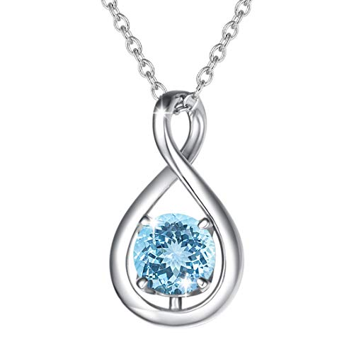 FANCIME 925 Sterling Silver March Birthstone Necklace Infinity Aquamarine Necklace with Beautiful Jewellery Box Christmas Birthday Valentine's Day Anniversary Present for Women Girl