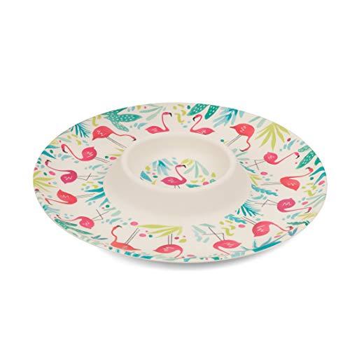 Bandeja reutilizable para aperitivos y salsa CAMBRIDGE CM06379 Flamingo | Menaje práctico y duradero para uso diario