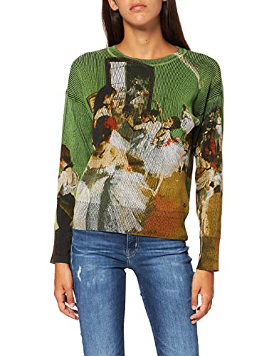 Desigual Womens JERS_Degas Pullover Sweater, Green, S