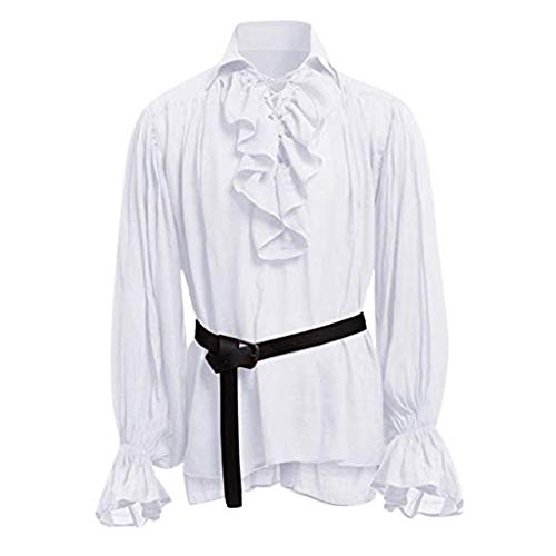 STRIR Camisa con Cordones renacentista Medieval Túnica Medieval Traje Caballero Viking Guerrero Camiseta con Cinturón para Hombres Disfraz de Pirata de la Edad Media (XXXXL, Blanco)