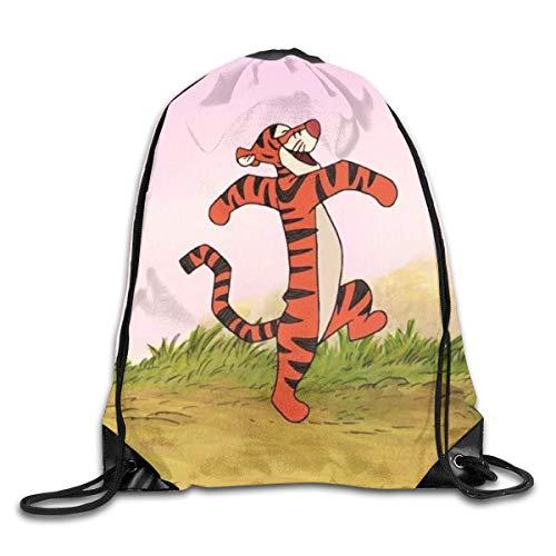 LUCKY Home Bolsa de hombro con estampado de tigre con cordón para deporte, gimnasio, mochila de almacenamiento