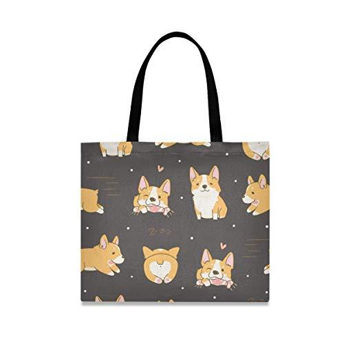 Corgi - Bolsa de lona para perros para mujer, tamaño grande, reutilizable con bolsillo interior, bolsa de compras, para gimnasio, playa, viajes al aire libre
