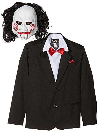 Saw Jigsaw Kostüm schwarz mit Maske u. Jacke mit Westenattrappe u. Hemd, Medium