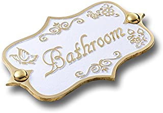 Bathroom Brass Door Sign. Vintage Shabby Chic Style Home Décor Wall Plaque Handmade by The Metal Foundry UK.
