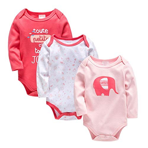Bebé Body Pack de 3 - Mono Niños Mameluco Manga Larga para Niñas Pijama Trajes de Invierno Algodón Pelele Ropa Elefante Rosado 18-24 Meses