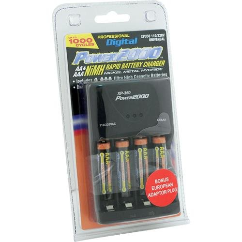 Power 2000 XP350-11 AAA Charger with 4 Rechargeable Batteries