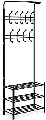 US Metal Entryway Coat Shoe Rack 3-Tier Shoe Bench With Coat Hat Umbrella Rack