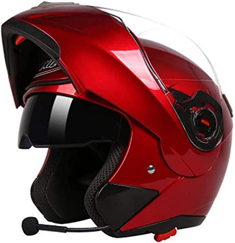ZLYJ Casco Modular De Motocicleta Bluetooth Casco Abatible De Doble Visera Casco De Cara Completa Modular Street Bike Crash con Respuesta Automática Certificado ECE F,L(54-56cm)