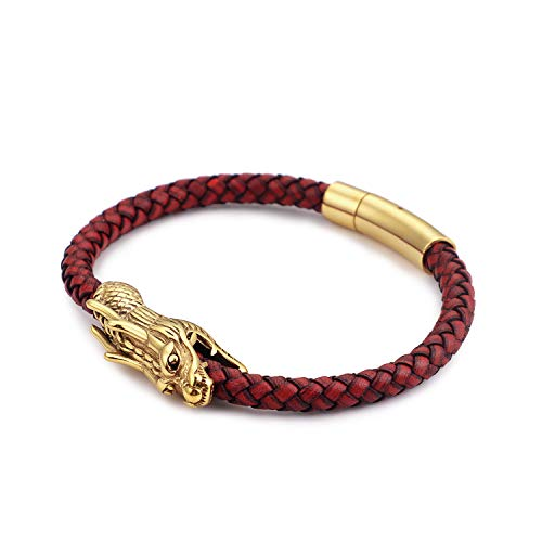 FJ Men's Chinese Red Gold Tone Dragon Head Stainless Steel Leather Bracelet, Chinese Style