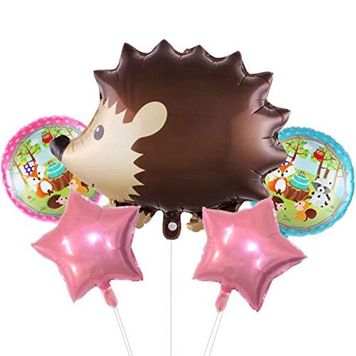 DIWULI, Juego de globos con forma de erizo, globos de papel de aluminio, globos de cumpleaños infantiles, fiestas temáticas, decoración de regalo, zoo, amigos del bosque, animales aéreos, estrellas