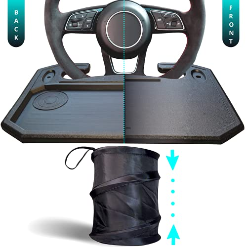 SupaQuipt Steering Wheel Car Desk - Dual Sided w/ Pop Up Trash Bin, Vehicle Mobile Office Workstation Driver Kit, Multifunctional Front Seat Featherlight - Sturdy Tray/Table for Laptop, Food Holder