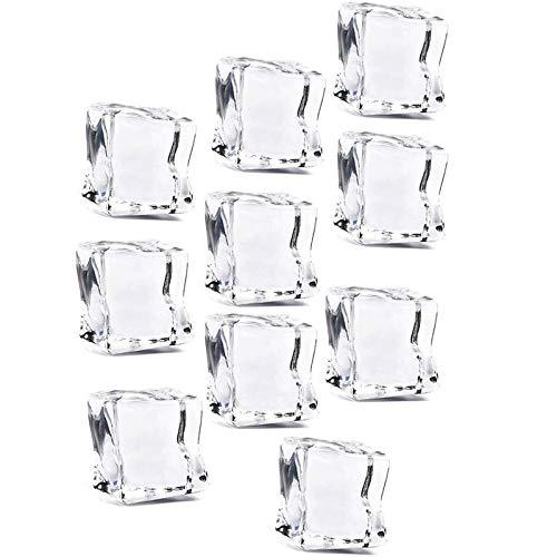 50 Pcs 20mm Cube Carré Forme Verre Lustre Glaçons Faux Artificielle Glaçons Cristal Clair,Transparent de Qalité Glace Pilée Rochers pour présentation de photographies, accessoires de table de mariage