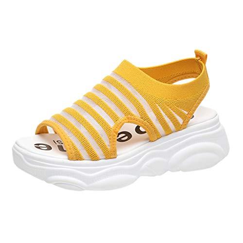 TUDUZ Sandalias De Mujer Verano La Comodidad Transpirable Ahueca hacia Fuera Las Cuñas Casuales Los Zapatos De Tela Sandalias (Naranja.c, 37)