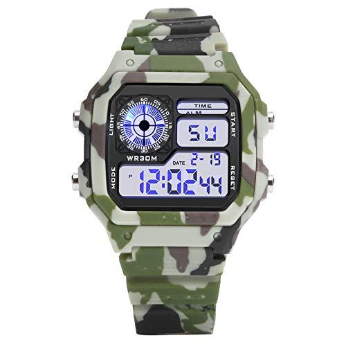 Mxzzand Reloj Deportivo Luminoso Reloj de Pulsera Multifuncional Masculino Digital electrónico Resistente al Agua, para Reloj Diario con Espejo(Camouflage Coffee)