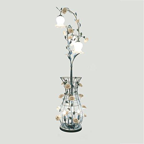 LILY American Garden Hohlkäfig Stehleuchte, Kreative Porzellan Rose Grass Stehlampe, Wohnzimmer Schlafzimmer Studie Vertikale Lampe, H150cm