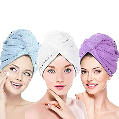 UQXY Microfiber Hair Towel Wrap for Women Girls, 3 Pack Super Absorbent Anti-Frizz Quick Dry Hair Turban Hat Shower Caps for Drying Curly, Long & Thick Hair