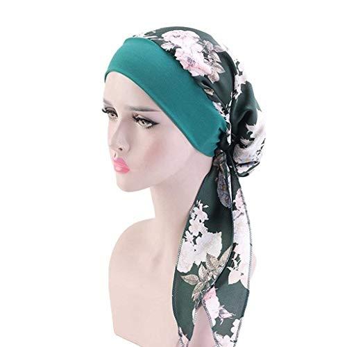 DYXYH Las Mujeres Hijab Estilismo Cap Chemo del Estampado de Flores del Sombrero del Turbante Cubierta de la Cabeza Abrigo de la Bufanda del Pelo de Headwear Labra los Accesorios (Color : A)
