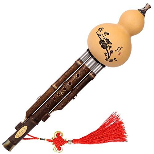 Hulusi Instrument De Musique Jouant des Cucurbitacées Flûte De Cucurbitacées en Bambou Naturel...