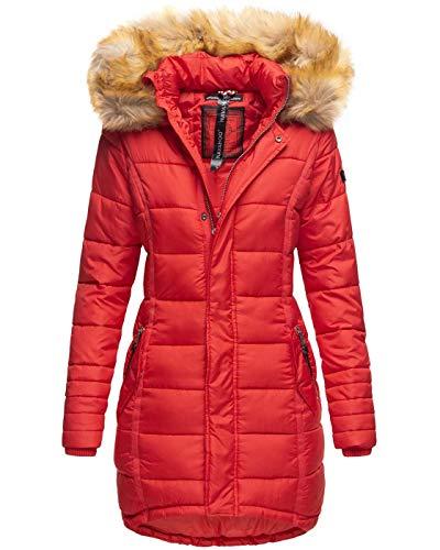 Navahoo Papaya Damen Winter Jacke Steppjacke Mantel Parka gesteppt warm B374 [B374-Papaya-Rot-Gr.S]