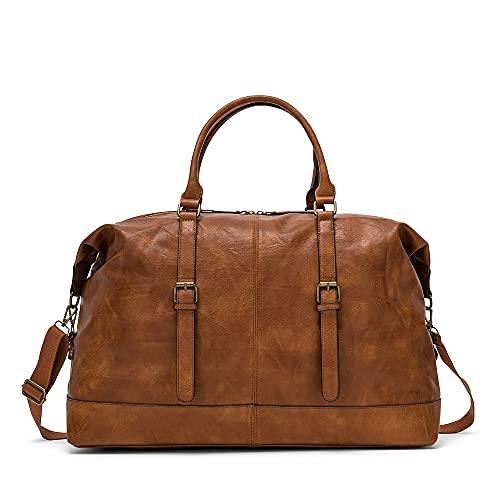 HERLING Borsone uomo/donna PASCAL vintage casual fashion viaggio similpelle (Coffee Brown)
