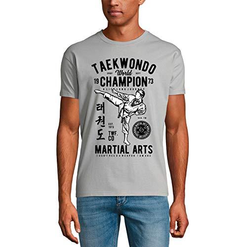 Ultrabasic - Maglietta da uomo Teakwondo Campione del Mondo 1973 - Arti Marziali Tee Shirt - grigio - S