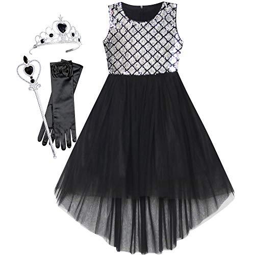 Sunny Fashion Vestido para niña Negro Alto bajo Varita mágica Princesa Corona Arriba Disfraz 12 años