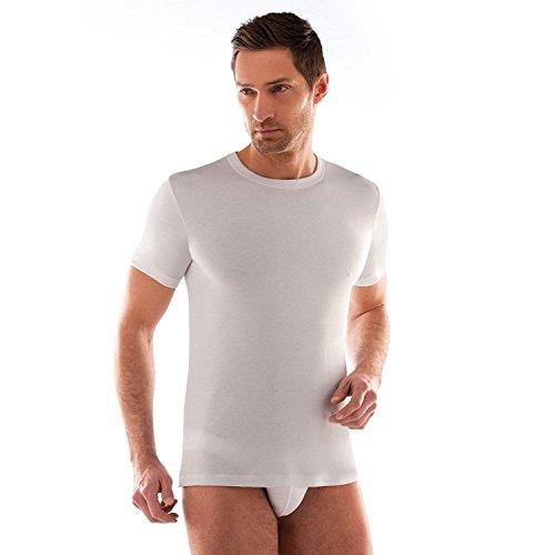 3 t-shirt corpo uomo bianco caldo cotone LIABEL mezza manica girocollo 02828/e23 … (6/XL)
