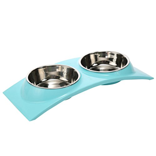 Yuncai Antiscivolo Acciaio Inox Ciotola Doppia per Cani Gatti Alimentatore di Cibo e Acqua Blu