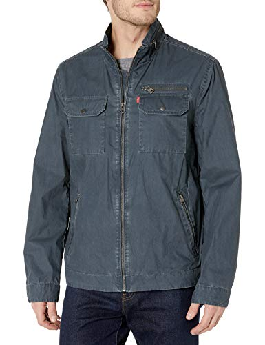 Levi's Men's Two Pocket Washed Cotton Military Jacket, Navy, Large