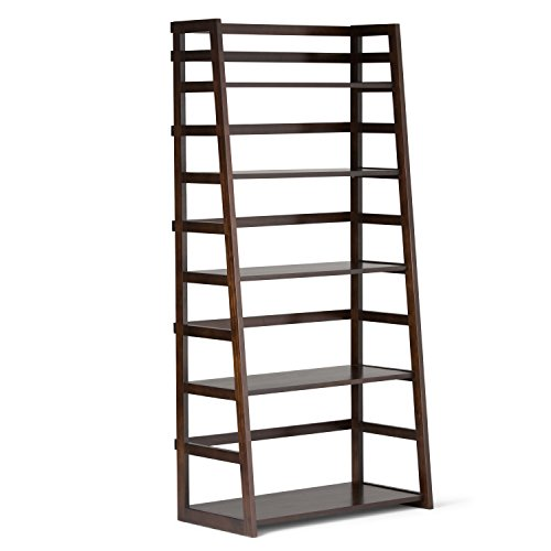 Simpli Home Acadian SOLID WOOD 63 inch x 30 inch Rustic Ladder Shelf Bookcase, Bookshelf in Tobacco Brown with 5 Shelves, for the Living Room, Study and Office