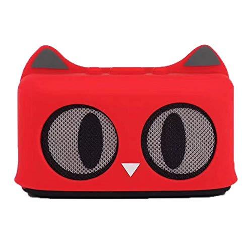 LDQLSQ Tragbarer Lautsprecher Bluetooth-Box Freisprechen Wasserdicht Cartoon Cat Tragbarer Subwoofer Mini Drahtloser Bluetooth Lautsprecher,Red