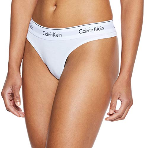 Calvin Klein Damen MODERN COTTON - THONG String, Weiß (White 100), M