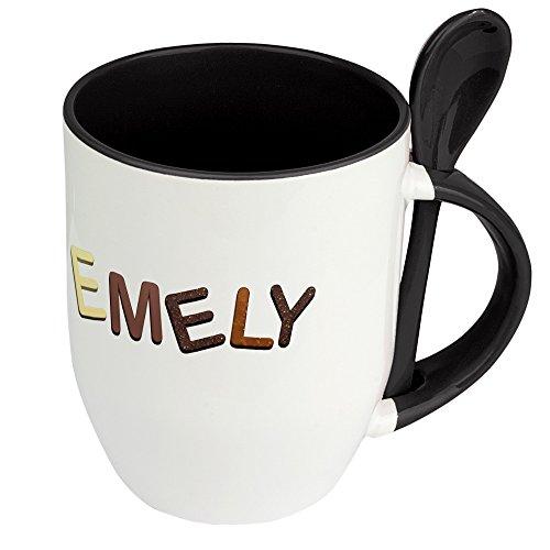 Namenstasse Emely - Löffel-Tasse mit Namens-Motiv Schokoladenbuchstaben - Becher, Kaffeetasse, Kaffeebecher, Mug - Schwarz