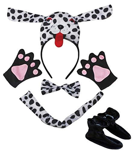 Petitebelle 3D Dlmata - Diadema para perro con pajarita, guantes de cola para nios (3D dlmata, talla nica)
