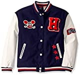 Tommy Hilfiger Girls Boys' Adaptive Varsity Jacket with Magnetic Buttons, Evening Blue- PT/Multi, XL