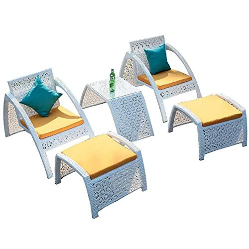 Set di Mobili da Giardino per Esterni, Set di 5 Pezzi in Vimini di Conversazione con Poggiapiedi E Tavolino Set di Combinazioni di Sedie in Rattan per Tutte Le Stagioni Reclinabili da Giardino