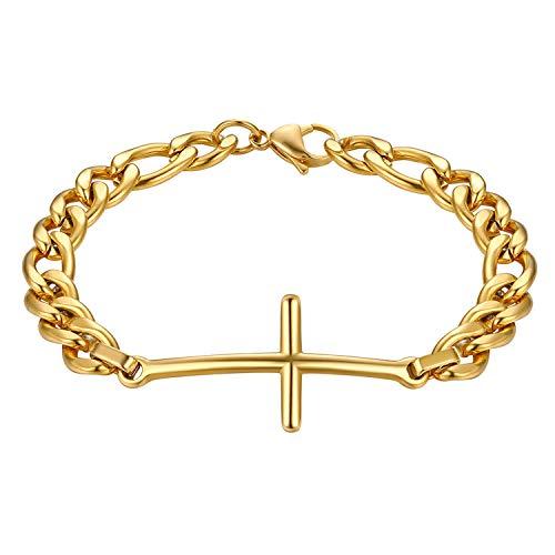 JewelryWe Pulseras de hombre y mujer de acero inoxidable, con colgante de cruz, color negro y rosado, pulseras para pareja de enamorados dorado