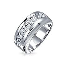 [ブリングジュエリー] CZ AAA シルバー925製 男女兼用 プリンセス インビジブルカット 結婚指輪 幅9mm サイズ25号
