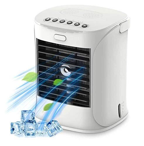 WELTEAYO Mini Enfriador Portátil Personal, Aire Acondicionado Móvil con 4 en 1 Ventilador Purificador Humidificador Luces Nocturnas de 7 Colores, 3 Velocidades y Capacidad de 500ML para Hogar Oficina