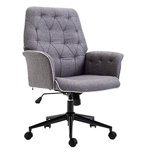 Silla de oficina con rotación de 360°, color gris, 66 x 69 x 101 cm