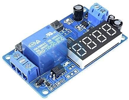 DC 12V Pantalla LED Temporizador de retardo digital Interruptor de control Módulo de relé Automatización PLC 3 botones Tubo digital de 4 dígitos Rojo