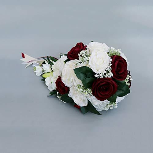 XYZMDJ Cascata Matrimonio Sposa Bouquet Damigella d'Onore Mano Legata Fiore Decorazione Casa Casa Vacanze Forniture per Feste European Rose Wedding Flowers Regalo