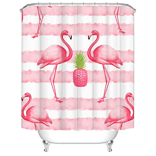 Pink Flamingo Shower Curtain Tropical Bird with Stripes Bathroom Curtain for Girl Woman Flamingo Decorative Bathroom Cloth Curtains with Hooks 72x72 Inches