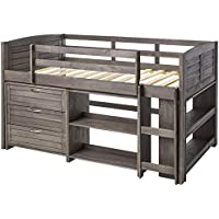 Donco Kid's Louver Modular Low Loft Bed Combo (Twin) (Antique Grey)