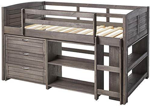 Donco Kids Louver Modular Low Loft Bed Combo B, Twin, Antique Grey