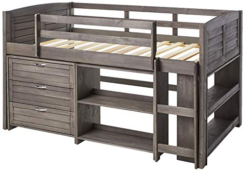 Donco Kids Louver Modular Low Loft Bed Combo B, Twin, Antique Grey