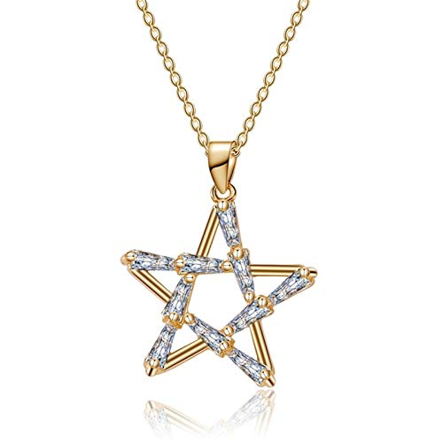 Moda Cubic Zirconia de cinco puntas de la estrella de la joyería del collar del ahogador de las mujeres de las muchachas del color del encanto del collar pendiente de la estrella del oro Accesorios
