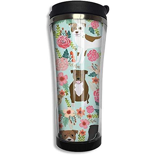 Like-like Vakuumisolierter Edelstahl-Becher 14oz mit doppelten Wänden und floraler Pitbull-Wasserflasche Kaffeetasse